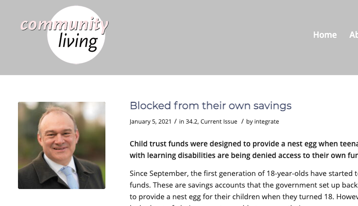 'Blocked from their own savings' (An article from Community Living Magazine)